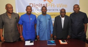 L-: Mr. Chuddy Oduenyi‎, MD, Compact Communications; Mr. Ifeanyi Aniagoh, Senior Special Adviser to Gov. Willie Obiano on Social Media; Mr. Celestine Achi, founder/CEO, Cihan Group; Mr. Muyiwa Akintunde, vice president, PRCAN and Mr. Ikem‎ Okuhu, Lead Director, Reliks Media Ltd., at the media launch of DigitalPRWire on Tuesday, February 14, 2017 in Lagos.